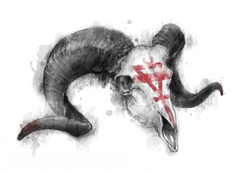 Grey watercolor ram skull with red sacred sign on forehead tattoo design