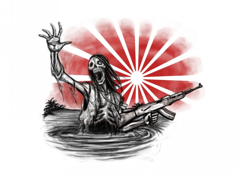 Grey zombie warrior with a gun in the water on red sunrise background tattoo design