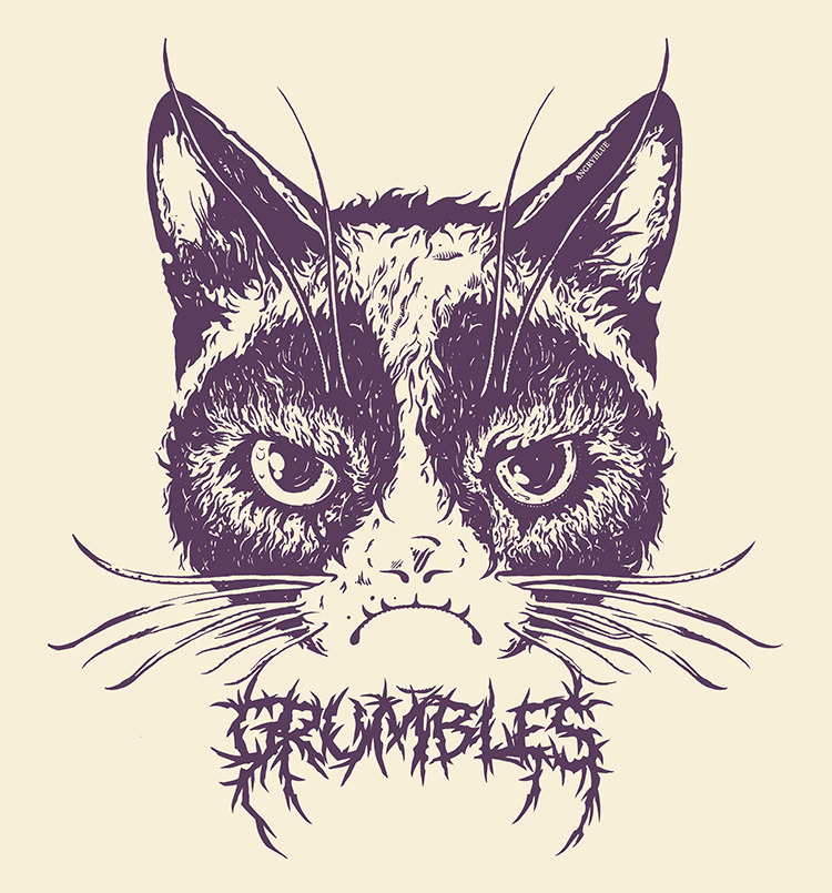 Grumpy cat muzzle with lettering tattoo design