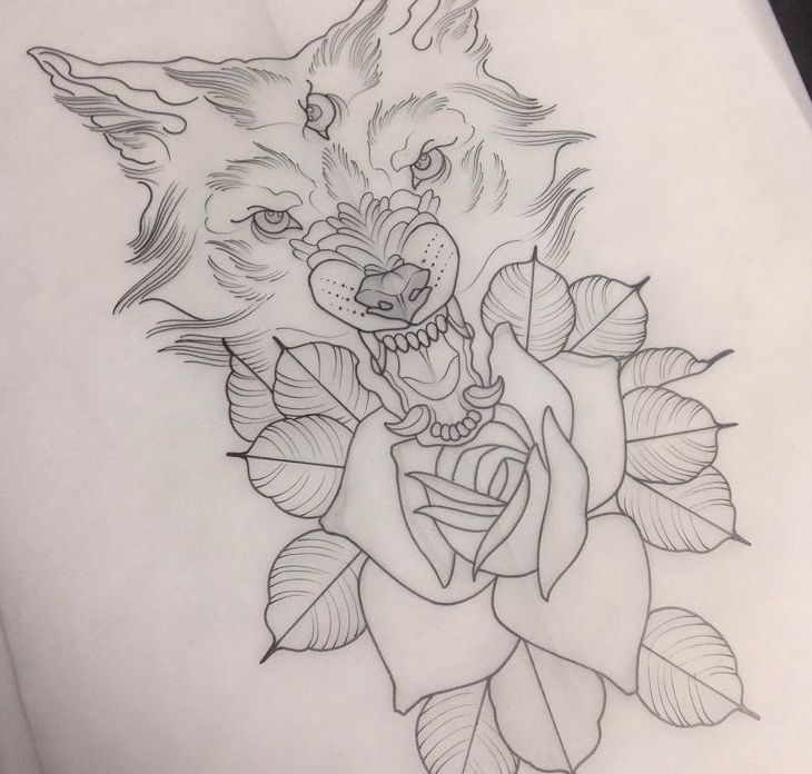 Grumpy three-eyed wolf and a rose tattoo design