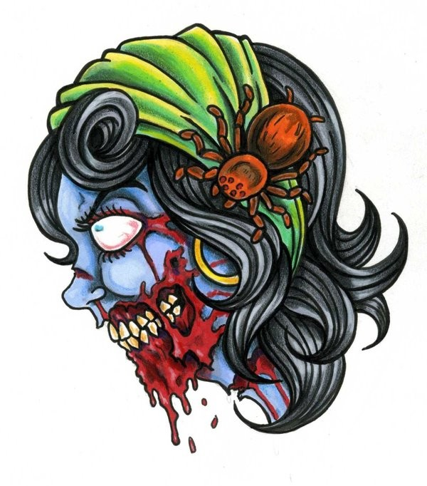 Gypsy zombie girl with bloody jaw and a big spider tattoo design