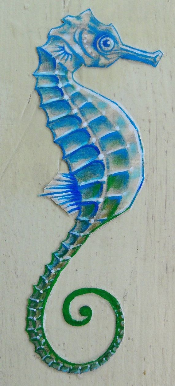Half-blue half-green seahorse tattoo design
