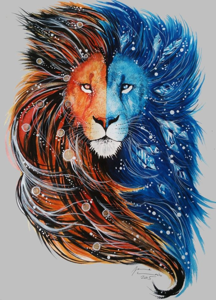 Half-blue half-orange windy lion tattoo design