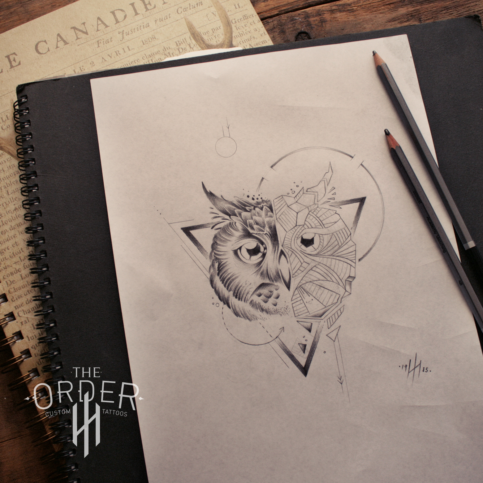 Half-geometric owl on triangle and circle figures tattoo design