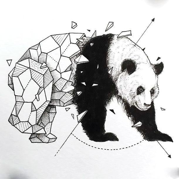 Half-geometric panda bear tattoo design