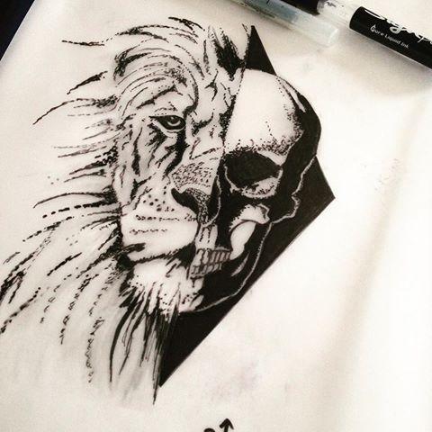 Half-lion half-skull on black rhombus tattoo design