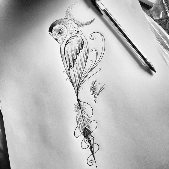 Half-owl with dotwork moon tattoo design