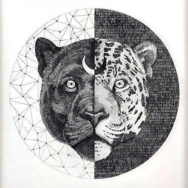 Half-panther head with moon sign on geometric background tattoo design