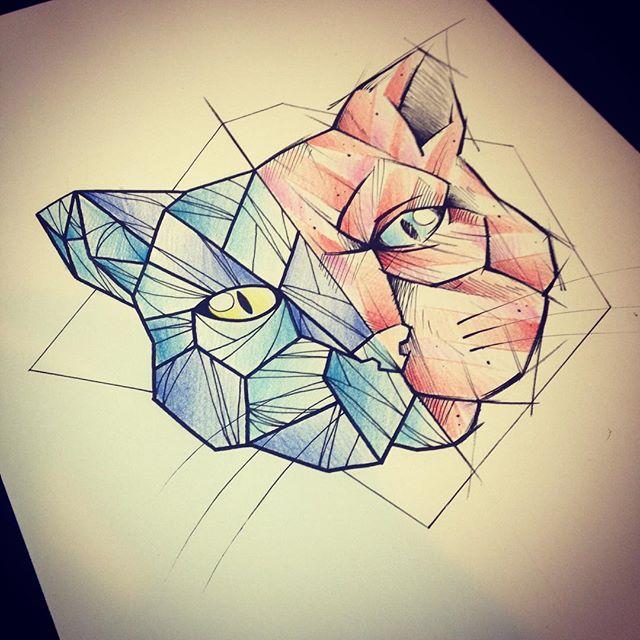 Half-red half-blue geometric cat muzzle tattoo design