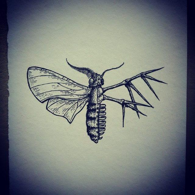 Half-skeleton moth tattoo design