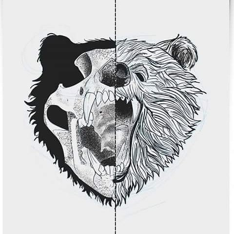 half skull roaring bear head tattoo design. Black Bedroom Furniture Sets. Home Design Ideas