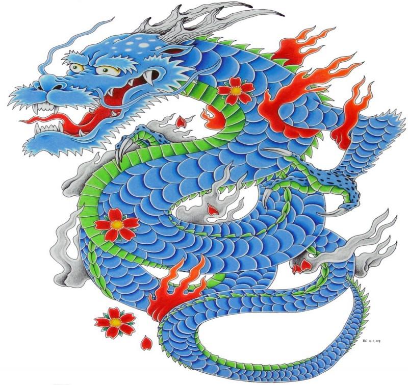 Happy blue asian dragon with falling red cherry blossom tattoo design by Bsguru