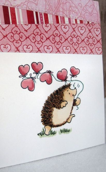 Happy cartoon hedgehog with heart-shaped balloons tattoo design