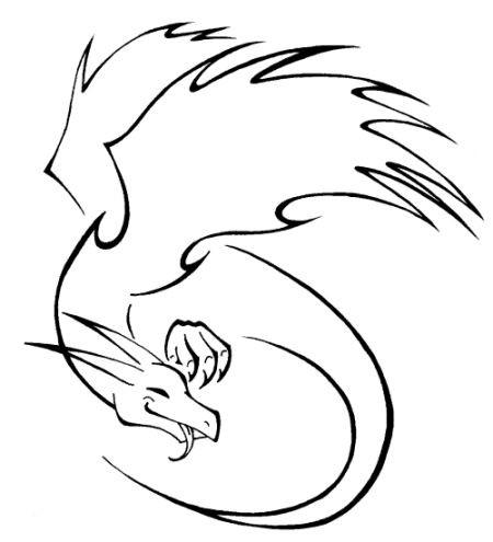 Happy cartoon outline dragon tattoo design