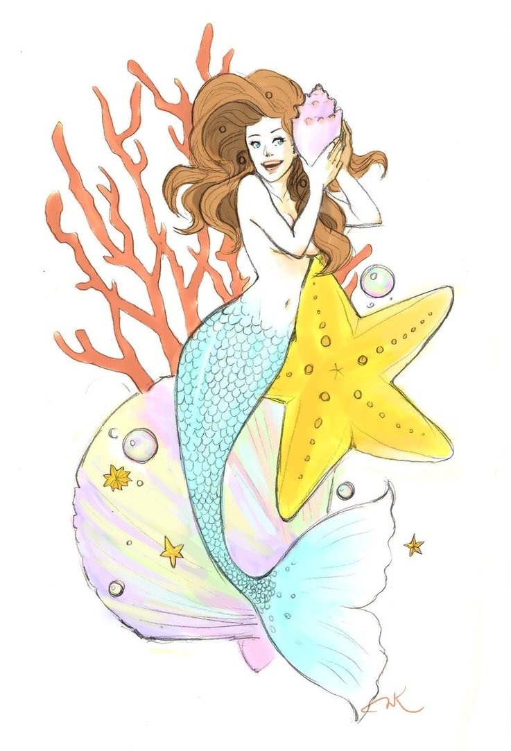 Happy colorful mermaid with weeds and starfish tattoo design by Couture Berry