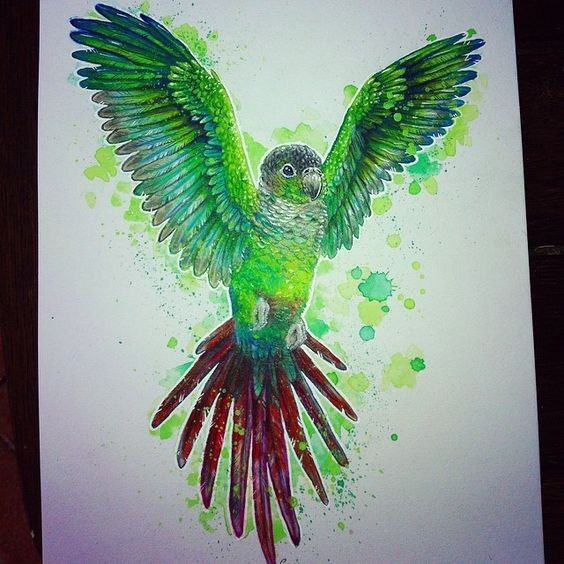 Happy green watercolor parrot with splashes on background tattoo design