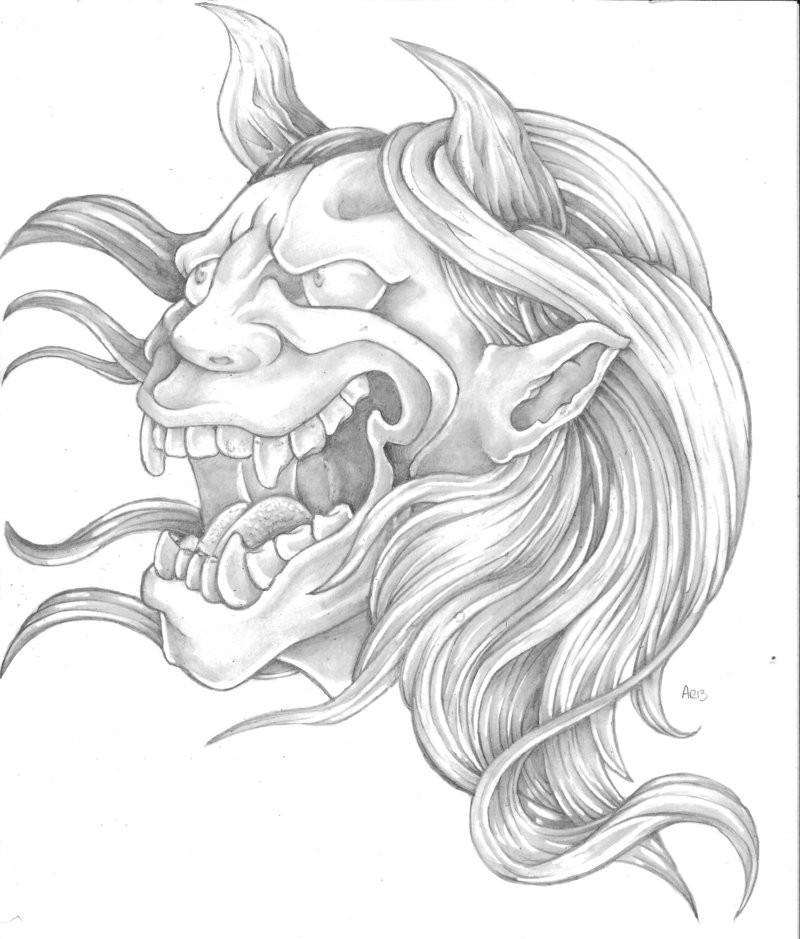 Happy grey-ink devil tattoo design by Aesiraven