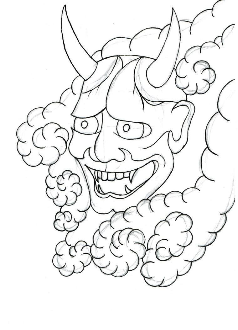 Happy lineart devil head in curly clouds tattoo design by Beyond Edge