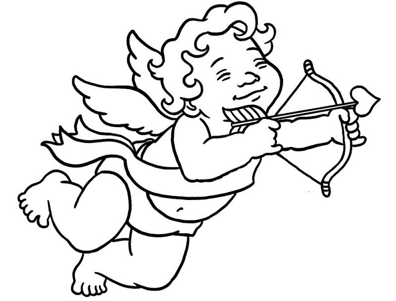 Happy outline cartoon cherub angel tattoo design