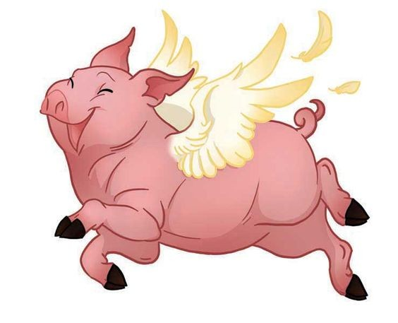 Happy pink flying pig with golden wings tattoo design