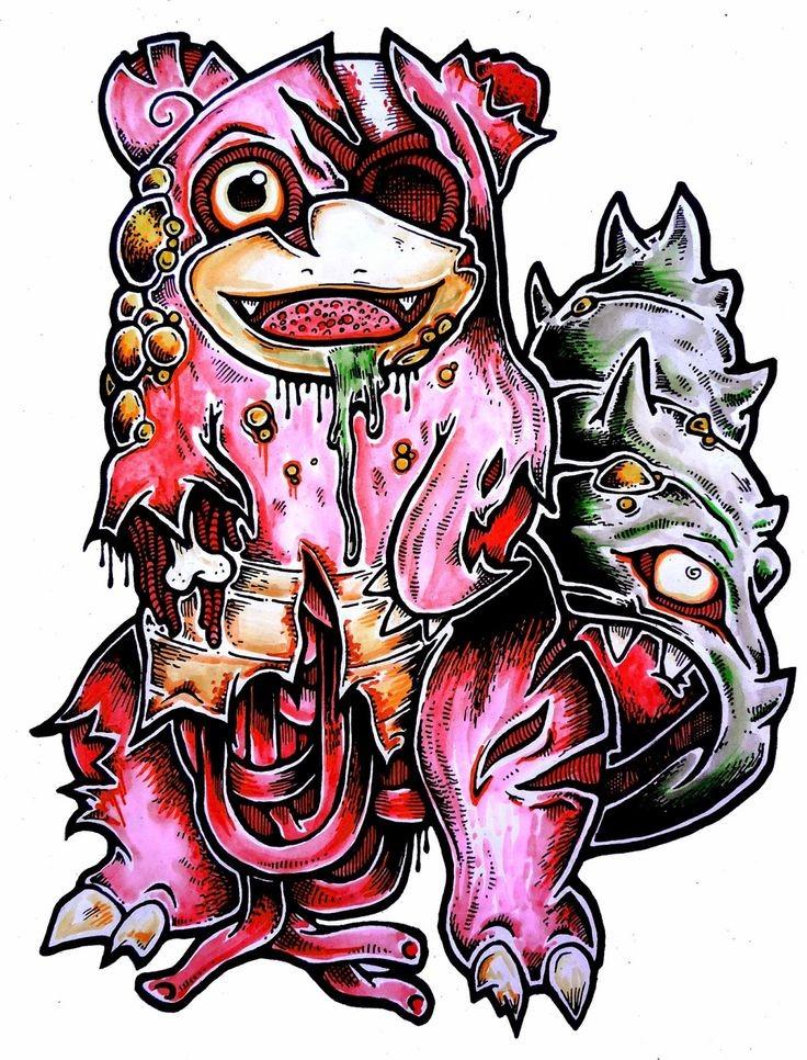 Happy pink zombie pokemon with grey fluffy tail tattoo design