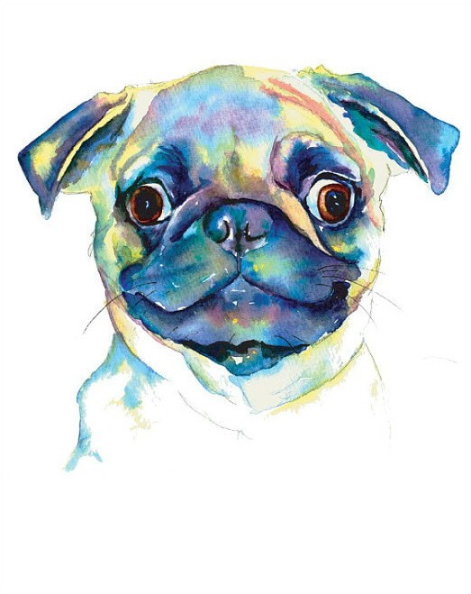 Happy smiling watercolor bulldog head tattoo design