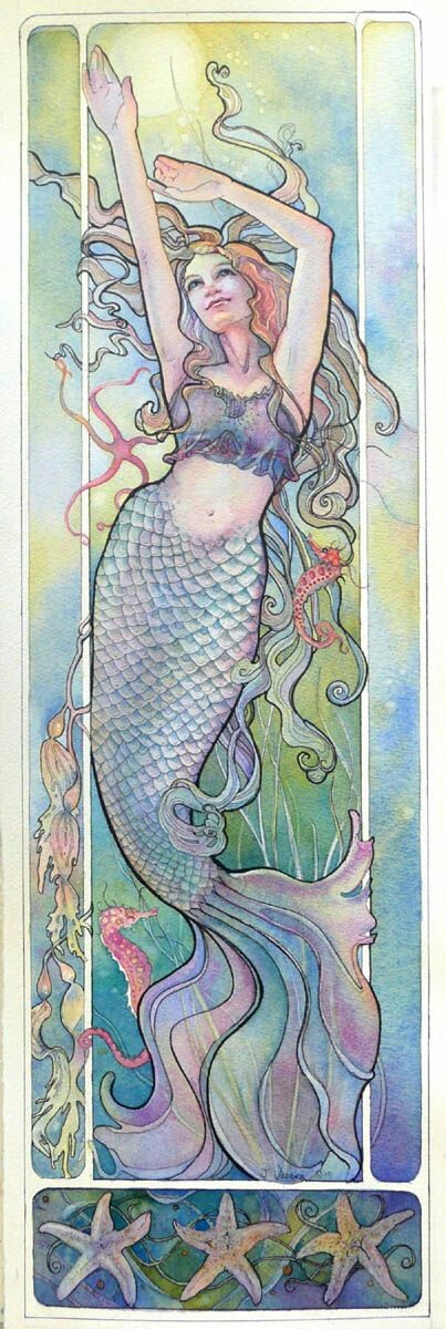 Happy soft multicolor mermaid swimming up tattoo design