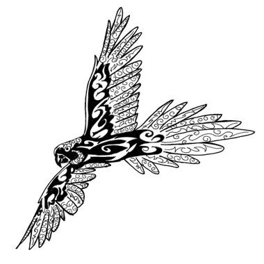 Happy tribal flying parrot tattoo design