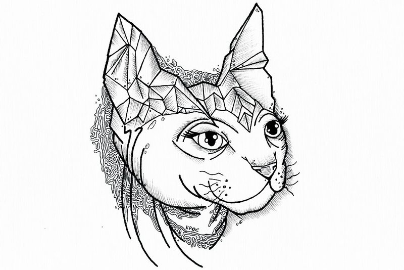 Happy uncolored cat head with geometric elements tattoo design