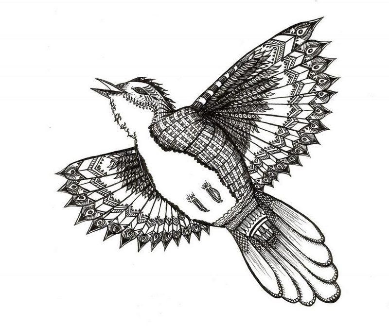 Happy uncolored ornmented flying bird tattoo design