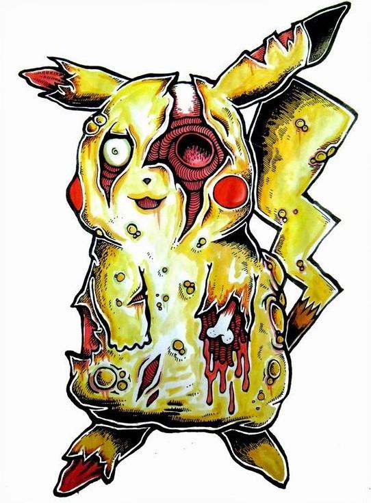 Happy yellow zombie pokemon tattoo design