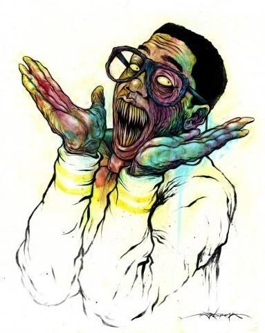 Happy zombie man in white suit and glasses with big sharp teeth tattoo design