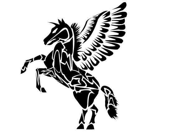 Harch black tribal pegasus tattoo design by Nacho Bunny