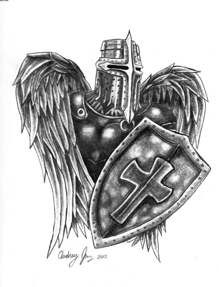 Harsh medieval angel knight with a shield tattoo design