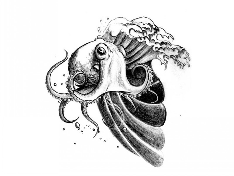 Haughty black-and-white water animal and stormy wave tattoo design