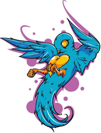 Heart-belly bird on purple spots background tattoo design