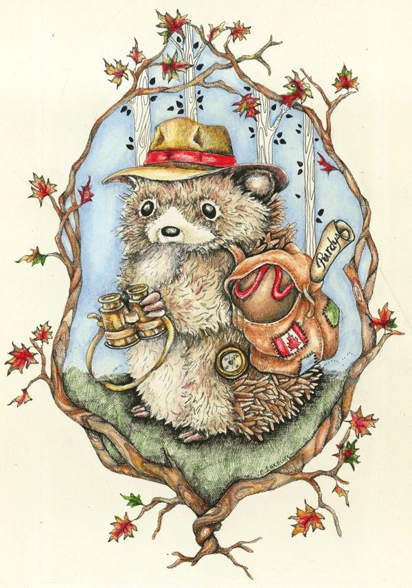 Hedgehog traveller in hat with bag and binocular in branch frame tattoo design