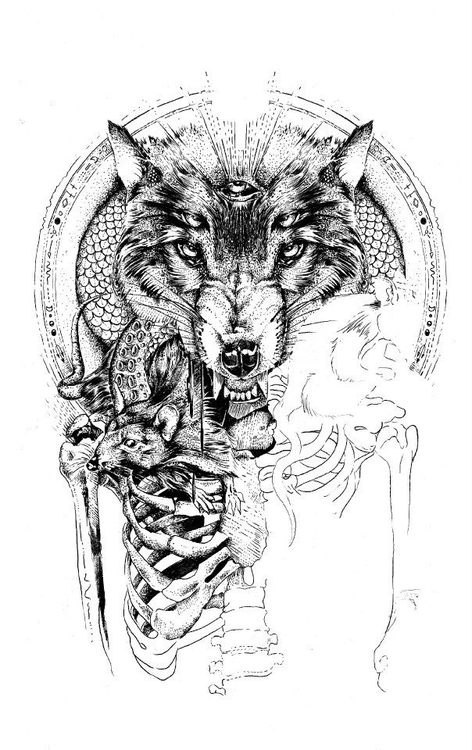 Horrible angry wolf with illuminati and human skeleton tattoo design
