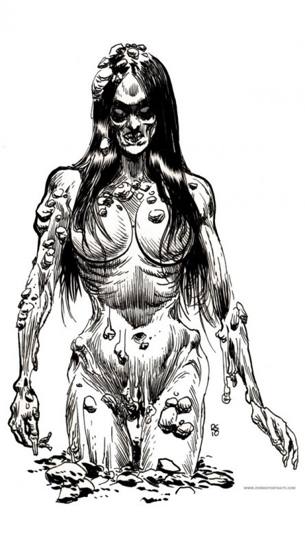 Horrible black-and-white brunette zombie pin up girl tattoo design