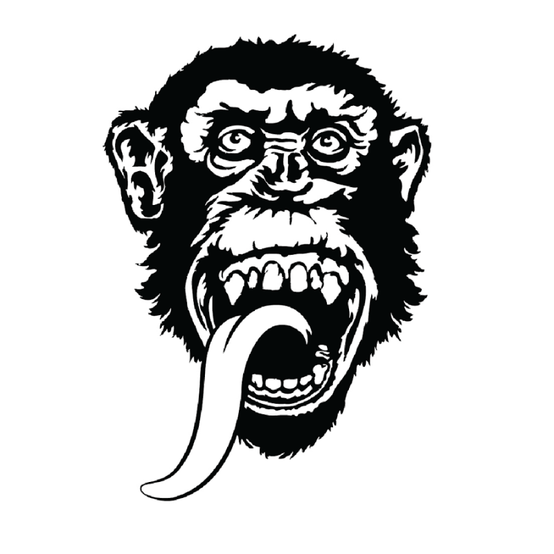 Horrible black chimpanzee with long hanging tongue tattoo design