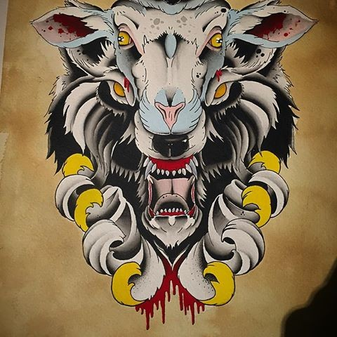 Horrible color-ink sheep and wolf with yellow curles tattoo design