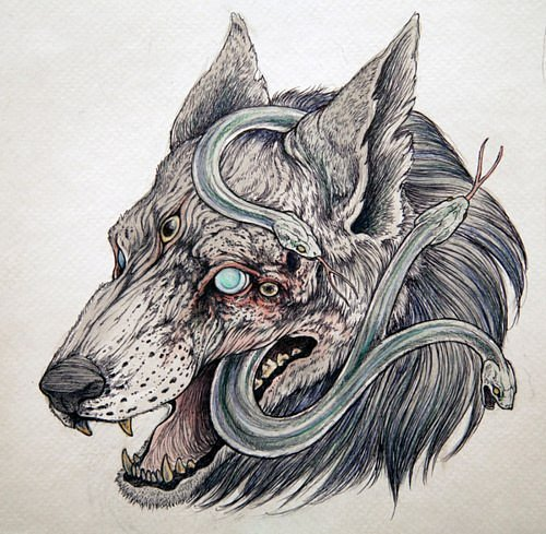 Horrible decaying wolf head with a snake inside tattoo design