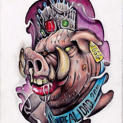 Horrible dire multicolor detailed pig head tattoo design