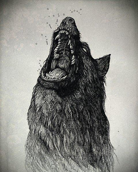 Horrible mad black screaming wolf tattoo design