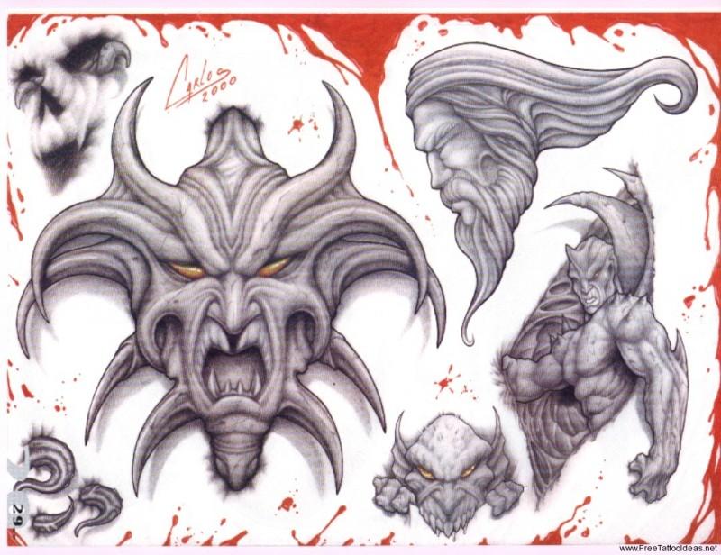Horrible stone demon tattoo designas