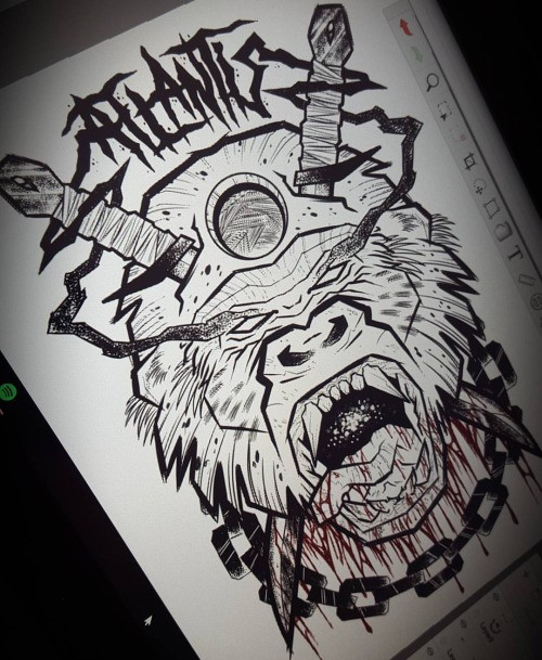 Horrible uncolored crying gorilla head with chains and swords tattoo design