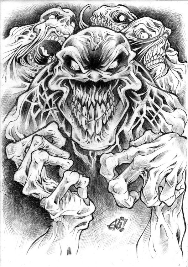 Horror black-and-white zombie band tattoo design