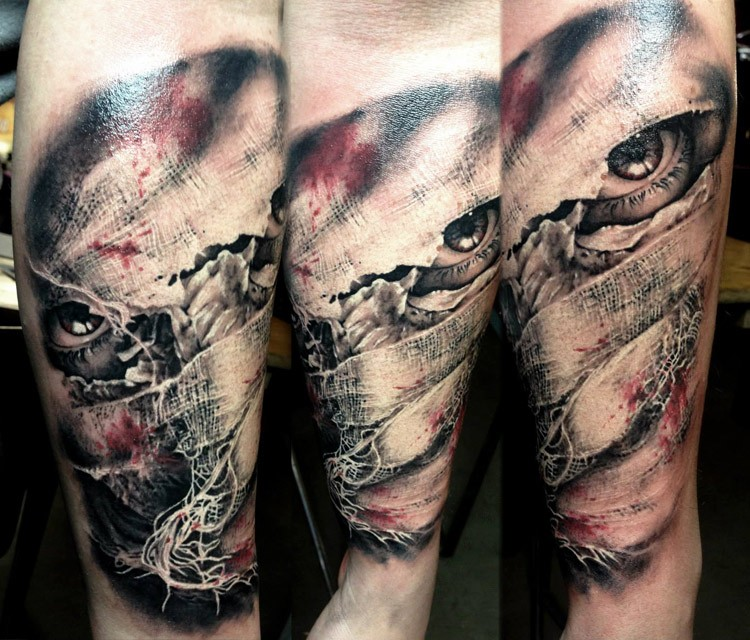Horror Style Colored Arm Tattoo Of Creepy Face Under