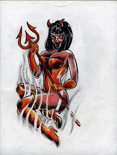 Sexy Angel And Devil Drawing