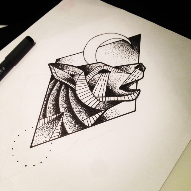 Howling dotwork wolf in a rhombus frame tattoo design